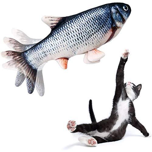 ANTKING Flippity Fish, Simulations Fisch Elektrisches Wiederaufladbar mit USB Kabel, Interaktives Fisch Spielzeug für Katzen mit Katzenminze, Floppy Fisch Waschbar für Katze Kauen Kick