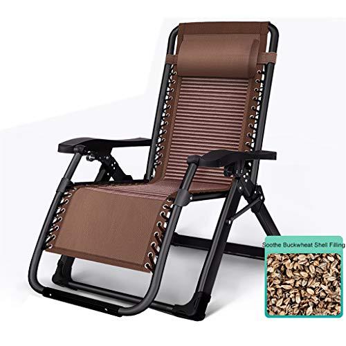 JHNEA Klappbarer Liegestuhl, Liege Freizeitliege Gartenliege Sonnenliege Verstellbare Liegestuhl Garten Liegestuhl mit Kopfstütze Verwendung als Relaxliege,Brown_65x75x80cm/26x29x31in