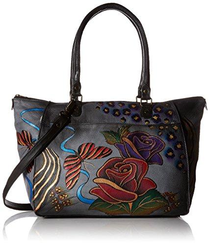 Anna by Anuschka Satchel Handtasche | Echtes Leder, (Rose Safari Grau), Large