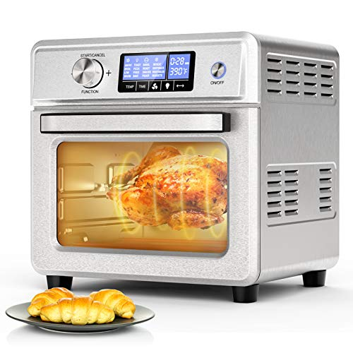 Air Fryer Toaster Oven, ICETEK 21QT 1800W Countertop Convection Oven with 16 Preset Functions Stainless Steel Digital Countertop Rotisserie Oven for Bake, Pizza, Defrost, Sous Vide and Food Dehydrator