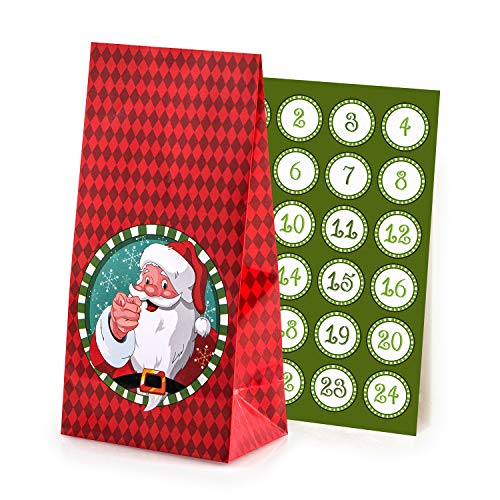 Adventskalender om te vullen Santa Claus 24 gecoate papieren zakken cadeauzakjes Kerstmis, kerstkalender knutselset incl. Adventsgetallen stickers van pajoma