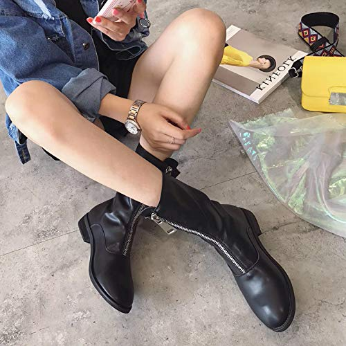 Shukun enkellaarsjes met ritssluiting aan de voorkant van mat leer verhogen rond hoofd persoonlijkheid Martin laarzen vrouwelijke herfst en winter schoenen retro laarzen