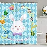BLEUM CADE Frohe Ostern Tag Duschvorhang, Ostern Cartoon Badvorhang, Niedlich Kaninchen & Ostereier Duschvorhang mit 12 Haken, Langlebig Wasserdicht Badvorhang für Badezimmer