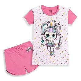 L.O.L. Surprise! Pyjama Été Fille, Pyjashort des Poupées LOL Unicorn Et Kitty Queen, Vêtement De Nuit Pijama Court…