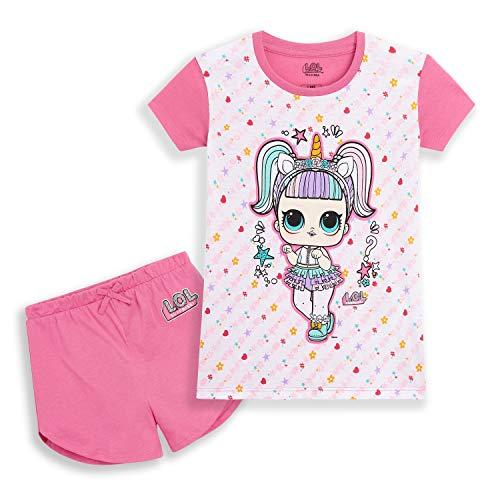 L.O.L Surprise! Schlafanzug Mädchen, Baumwolle Kurze Pyjama mit LOL Puppen, Zweiteilige Pink Sommerschlafanzug, Kinder Nachtwäsche Set, Geschenke für Kinder (Pink Einhorn, 5 Jahre)