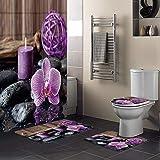 Minyose Zen Stein Lila Orchidee Ruhige Kerze Bad Set Dauerhafte wasserdichte Duschvorhang Set Teppich Teppich Toilettendeckel Abdeckung Badematte 180X180 cm