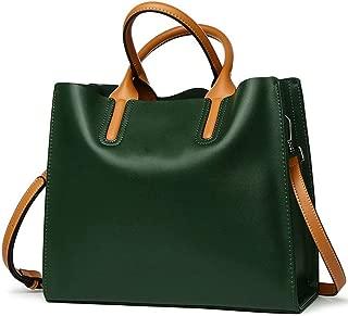 Wear Resistant Outdoor Business Leather Handbags Shoulder Bag/Crossbody Bag Simple Wild Lady Big Bag (Color : Green)