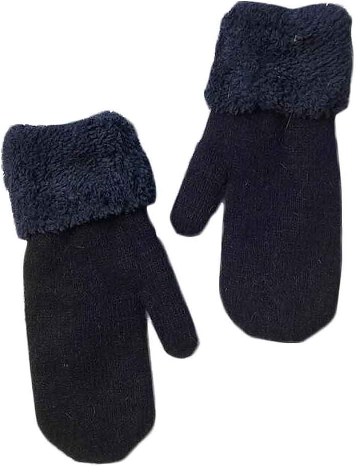 Panda Legends Women's Winter Gloves Warm Lining Mittens Cozy Woolen Thick Gloves Mittens Winter Cold Weather Accessories,Navy Blue