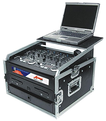 Professional DJ Rack Case With Sliding Laptop Stand - For Controllers, Mixers and Amplifiers - 10 and 8 Top and Bottom Space Storage - Pro ATA 18U By GMI Pro