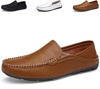 JAMONWU Men's Premium Genuine Leather Casual Loafers Slip on Boat Flats Driving Shoes Fashion Slipper