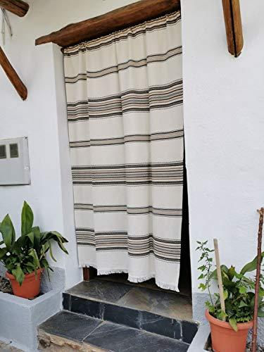 Cortina Alpujarreña Rustica,(160 x 215 cm), Crudo Marrón Color 103 Hecha en España, Fibra Natural de algodón - Cortina para Puerta Exterior mosquitera y Parasol