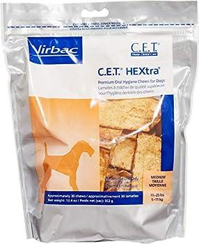 C.E.T HEXtra Premium Oral Hygiene Chews  with Chlorhexidine  for Medium Dogs  11-25 Pounds  3 Pack  90 chews