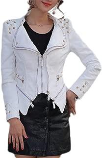 FSSE Women's Shrug Full Zip Moto Rivet Lapel Slim Fit Denim Jacket Jean Coat