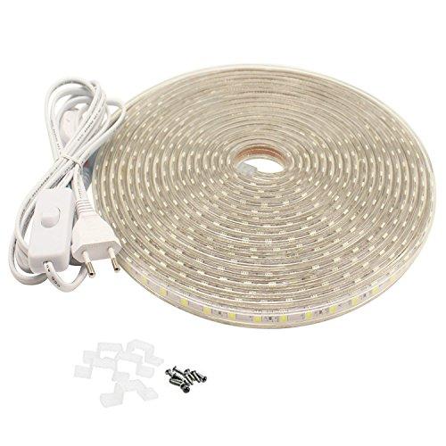 LED Band mit Schalter, 5050 Led Lichtleiste, 220V, 10M, IP65, Warmweiß
