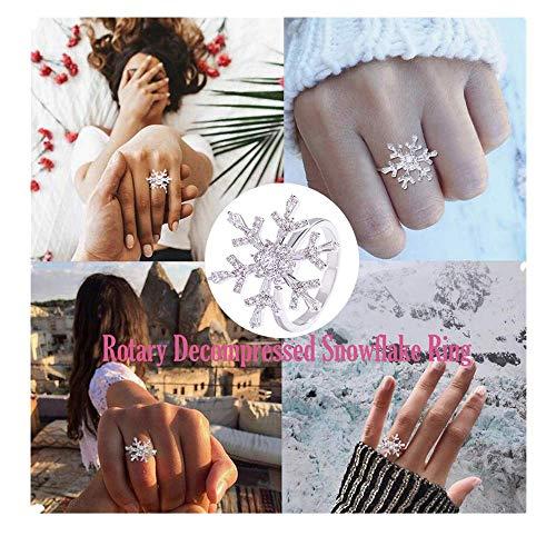 Rotierende Schneeflocke Ring,Schöner Valentinstag Geschenk für Ihn Sie,Women Jewelry Rotating Zircon Ring Relieves Stress Snowflake Rings