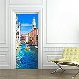 XXCCTT Etiqueta De La Puerta Mural 3D Ciudad Venecia Río Barco (90 * 215Cm) Autoadhesivo DIY...