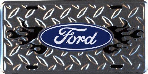 Hangtime Ford Diamond Emboss 6 x 12 Metal auto tag with Universal mounting Slots