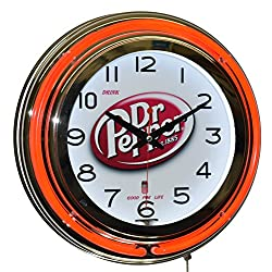 Drink Dr Pepper Good for Life! Red Double Neon Advertising Clock Wall Decor