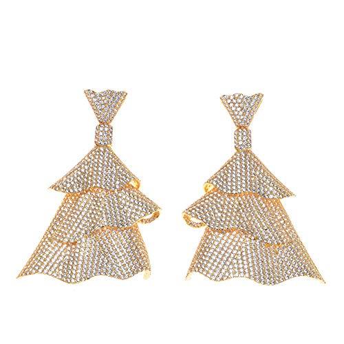 BQZB ohrring Heißer Luxus Trendy Weihnachtsbaum Ohrringe Voll Zirkonium Hochzeit Kleider Frauen Ohrring Modeschmuck