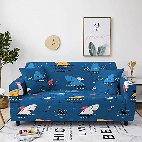 QYQMYK Funda De Universal Sofá - Elegante Funda Antideslizante para Sala De Estar con Diseño De Tiburón Oceánico Azul Y Blanco, Moderno Sofá para Mascotas, Funda Antiarrugas para Sillón, Protector De