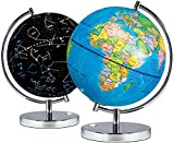 Science Kidz 2 in 1 Illuminated World Globes For Children - Light Up Night View Constellation Kids Lamp