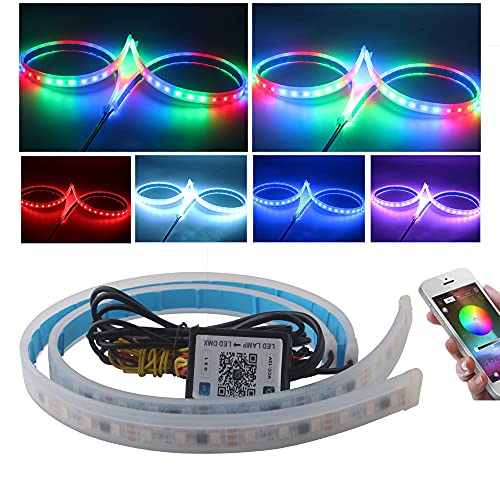 EverBright Led Strip Lights for Cars, RGB Led Headlight Strip for Turn Signal Bulb Daytime Running Lights DRL Sequential Switchback Led Strip with App Bluetooth Control (2Pcs 60CM/24 Inch)