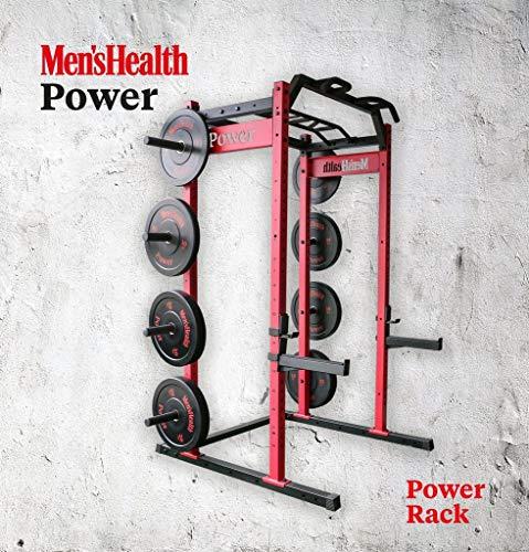 MEN'S HEALTH POWER Power Rack | Multifunktionale Kraftstation mit Klimmzugstange, Langhantelablage und Hantelscheibenaufnahmen