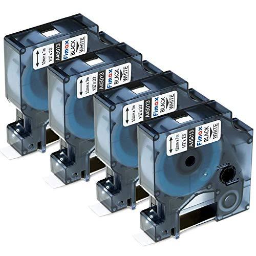 Fimax Kompatibel Schriftband als Ersatz für Dymo LabelManager 160, LabelManager 280, LabelManager 210D Etikettenband Dymo 12mm 45013 s0720530 Schwarz auf Weiß, 4er