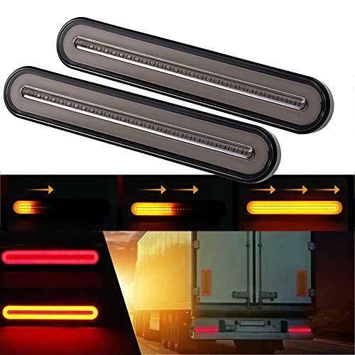 GSRECY Yellow & Red 100 LED Dynamische Stop Flowing richtingaanwijzers rem achterlicht trailer Truck Van Lorry (verpakking van 2)