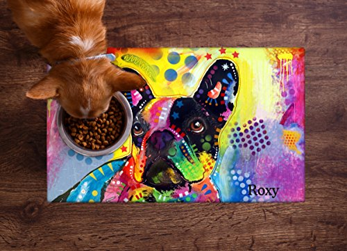 Drymate Personalized Pet Bowl Placemat, Dean Russo, Custom Dog & Cat Food Feeding Mat - Absorbent Fabric, Waterproof Backing - Machine Washable/Durable (USA Made) (12' x 20') (French Bulldog 2)