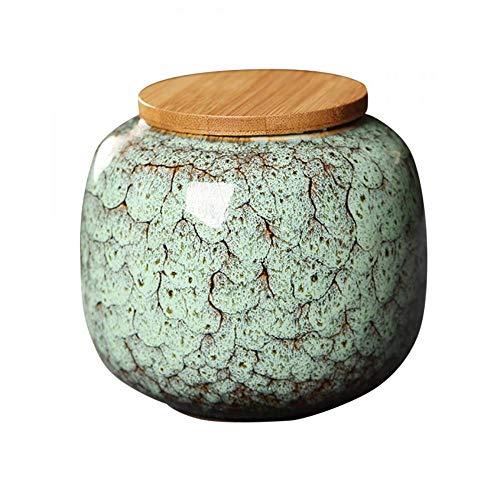 Keramik-Lebensmittel-Aufbewahrungsbehälter Marmor Gewürzdosen mit Holzdeckel, Kaffeedose, Zucker-Teedosen, Dose für Büro, Zuhause, Küche, Dekoration, 650 ml (grün)