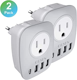 European Plug Adapter 2 Pack, ORSEN International Power Adapter with 2 US Outlets, 1 USB C and 3 USB, 6 in 1 European Travel Plug Adapter for US to Most of Europe Spain France Germany etc (Type C)