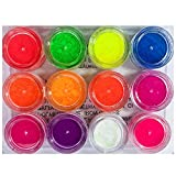 Neon Pigment Eyeshadow for Makeup Black Light Reactive 12 Rainbow Loose Powder Colors Kit 2