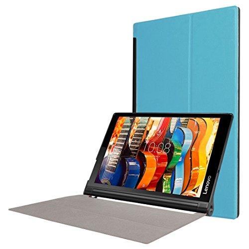 YUCPING Custer Textura Horizontal Flick Sustancial De Piel del Color del Caso con El Sostenedor De Tres Plegable For Lenovo Yoga Tab 3 Pro X90L, 10.1 Inch Funda para teléfono móvil (Color : Blue)
