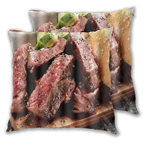 TARTINY 2 Pack Kissenbezüge Prime Black Angus Steak Burger Mittlerer seltener Grad der Steak Doneness Grafikdruck Quadratische Kissenhüllen für das Wohnzimmer-Sofa, Schlafzimmer 30cm x 30cm