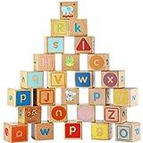 Lewo ABC Blöcke Holz ABC Blöcke BAU Spiele Extra Große 26 STÜCKE Alphabet Buchstaben Block Set Montessori Lernspielzeug für Kinder Kleinkinder