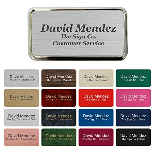 Personalized Name tag ID Badge - Trophy Picture Label with Magnetic or pin Backing. Customize - 1.5' x 3' - Round Corners - 3 Lines with Badge Frame Holder