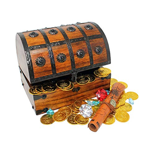 Nautical Cove Wooden Pirates Treasure Chest Box with a Free Pirate Treasure Map and Gold Coins/Gems (Large 8'x6'x6')