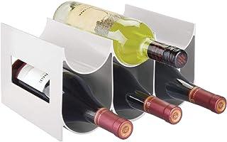 mDesign Range Bouteille pour vin – Joli casier à Bouteille en Plastique Jusqu'à 6 Bouteilles – Porte Bouteille autoportant...