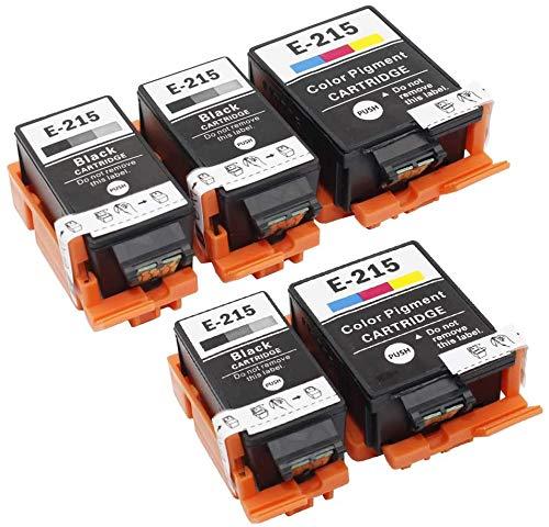 215 Ink Cartridges T215 Remanufactured for WF-100 wf100 Printer with Pigment Ink , 5-Pack(3 Black, 2 Color).