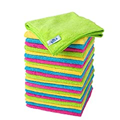 "Soft Microfiber Cleaning Cloths won't scratch surfaces Lint Free, Non-Abrasive, Easy to Wash Absorbs water more & faster and dries faster than Cotton Size: 32 x 32cm, 12.6"" x 12.6""; Pack of 24 Ideal for use in Kitchen, Home, Furniture, Car"