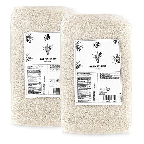 KoRo - Bio Basmatireis weiß 5 kg - Beste Qualität Aus Biologischem Anbau im Vorteilspack