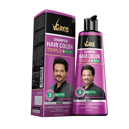 VCare Shampoo Hair Color Triple Plus, Black, 380 ml