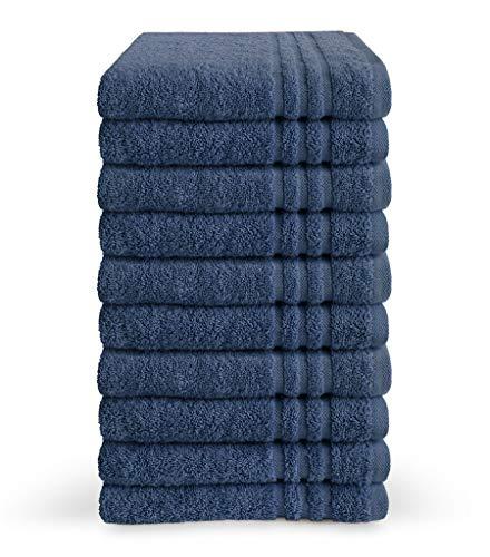 Byrklund Juego de toallas de algodón (70 x 140 cm, 10 unidades, suave, 500 g/m²), color azul