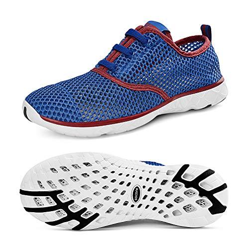[Feetmat] スニーカー レディース 室内 スポーツ トレーニングシューズ 軽量 通気 フィットネスシューズ S8859 ブルー レッド 25