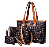 Bolsos de piel sintética para mujer - idea de regalo original - marrón - patrones - lote 3 piezas - bolso para niña y mujer - excelente calidad