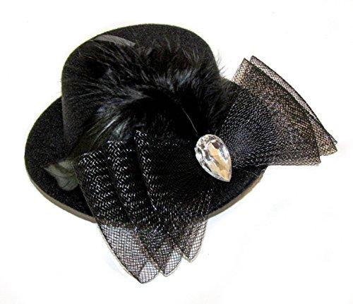 Femme Fille superbe noir Cabaret Burlesque danseuse de mini chapeau avec plumes et bijoux