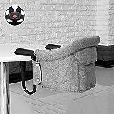 LIGUOPIN Tischsitz Faltbar Babysitz Baby Hochstuhl Sitzerhöhung für zu Hause und Unterwegs mit Transporttasche ideal als Hochstuhl für unterwegs für Babys and KleinkinderGray
