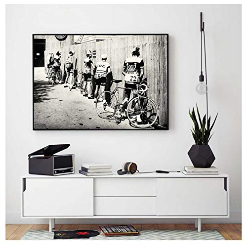LangGe Schwarz und Weiß Fahrrad Radfahrer Print Bike Vintage Foto Poster Geschenk für Badezimmer Dekor Männer Rennrad Wandkunst 60x80 cm Kein Rahmen