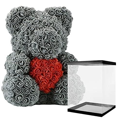 Ours en Rose 40 cm Gris avec Cœur Rouge + Boite Love Fête des Mères Anniversaire Saint Valentin Mariage Noël Cadeau boîte